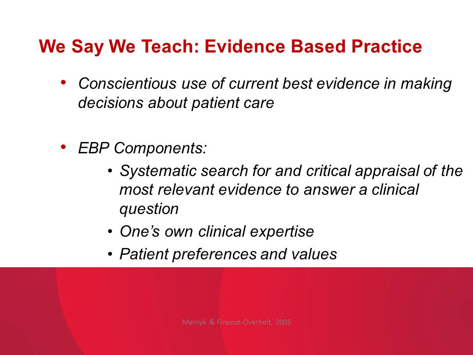We Say We Teach: Evidence Based Practice