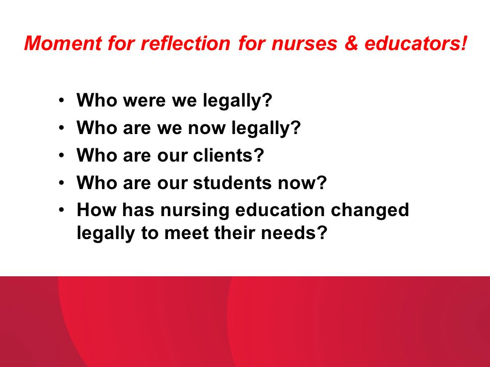 Moment for reflection for nurses & educators!