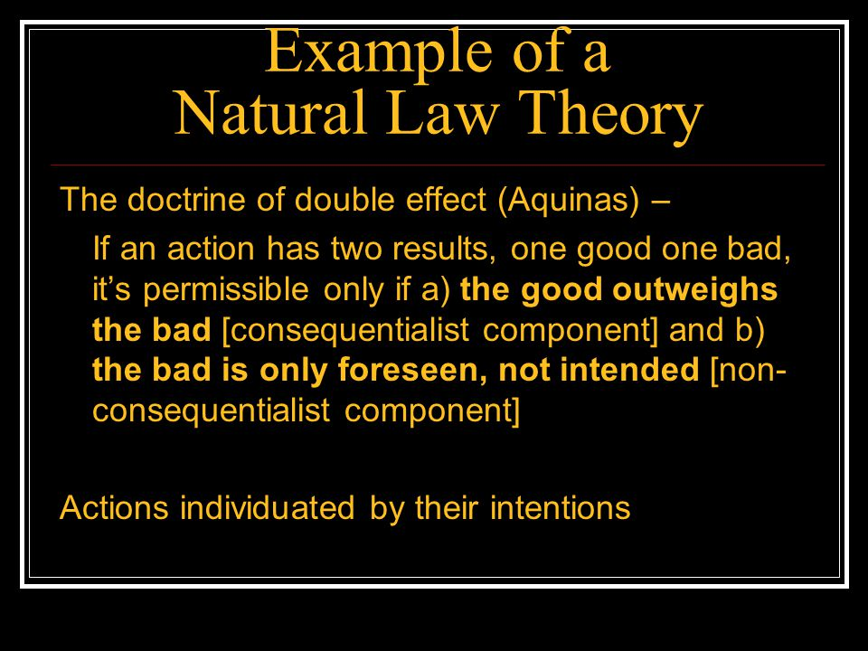 Example of a Natural Law Theory