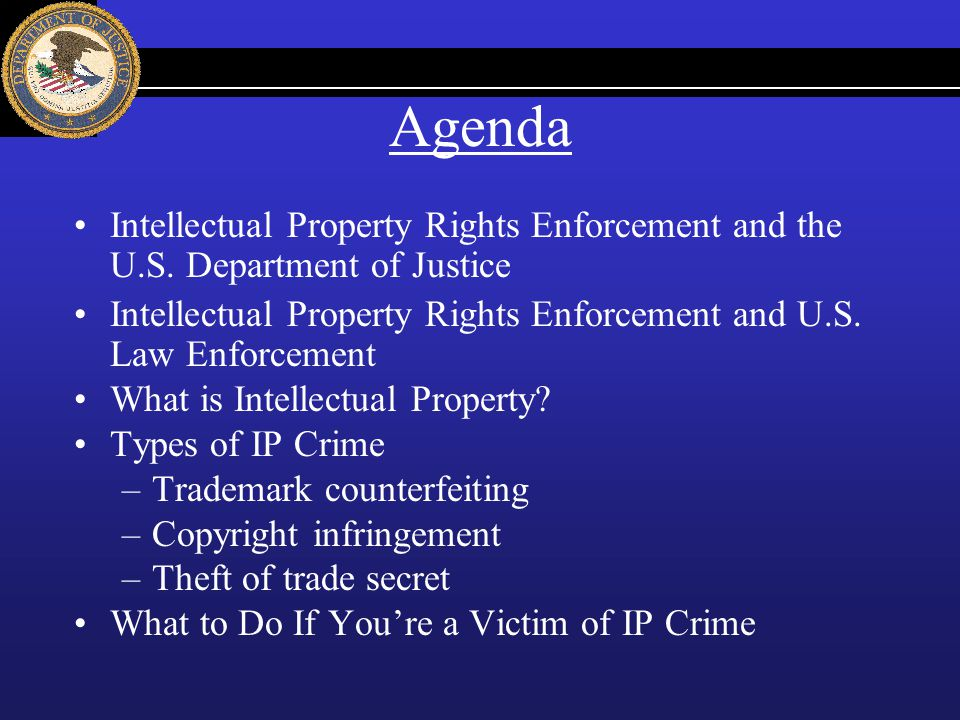 Agenda Intellectual Property Rights Enforcement and the U.S. Department of Justice.