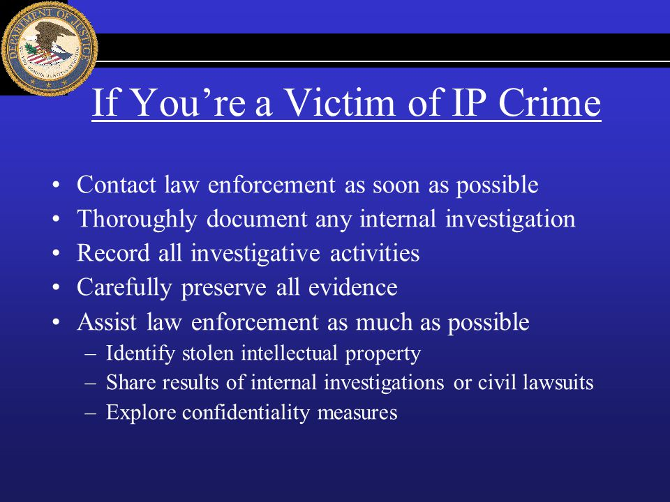 If You're a Victim of IP Crime