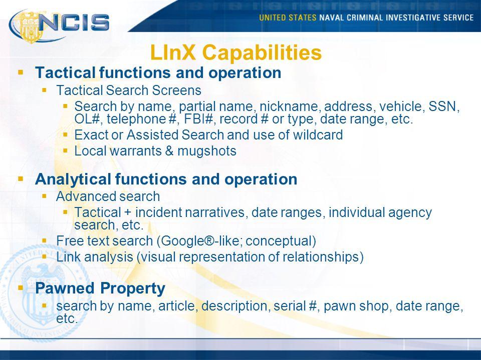 LInX Capabilities Tactical functions and operation