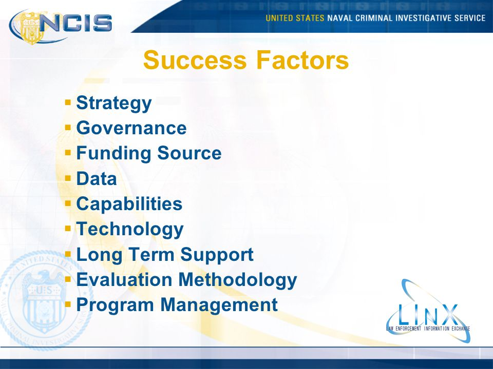 Success Factors Strategy Governance Funding Source Data Capabilities