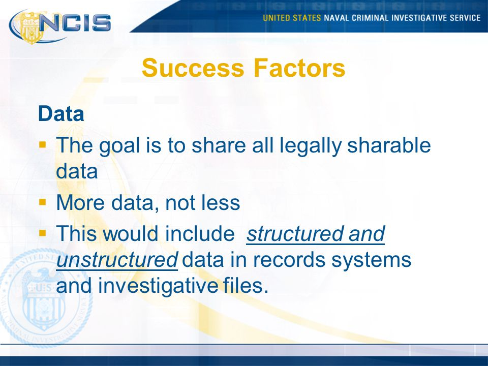 Success Factors Data The goal is to share all legally sharable data