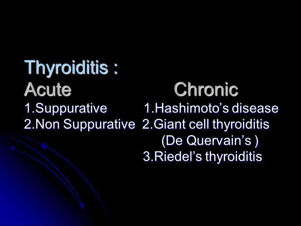 Thyroiditis : Acute Chronic 1. Suppurative 1. Hashimoto's disease 2