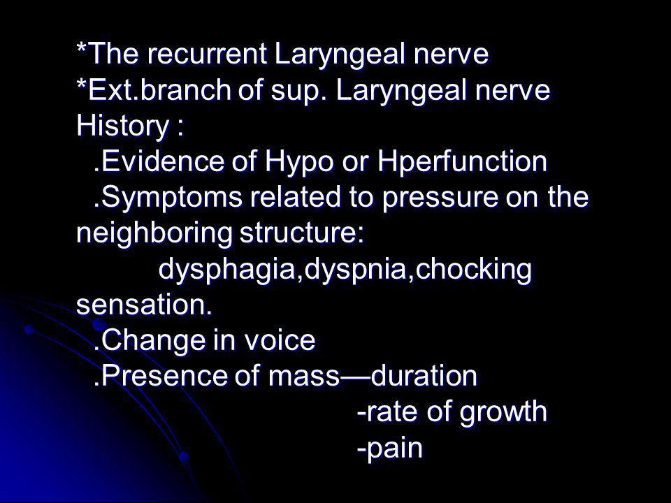 The recurrent Laryngeal nerve. Ext. branch of sup