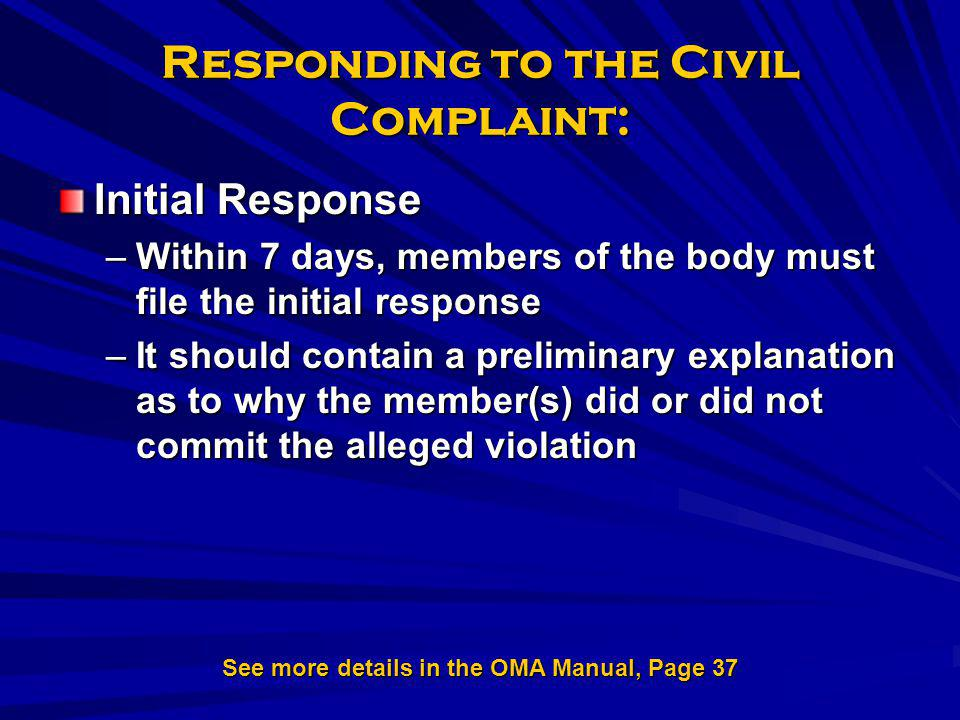 Responding to the Civil Complaint: