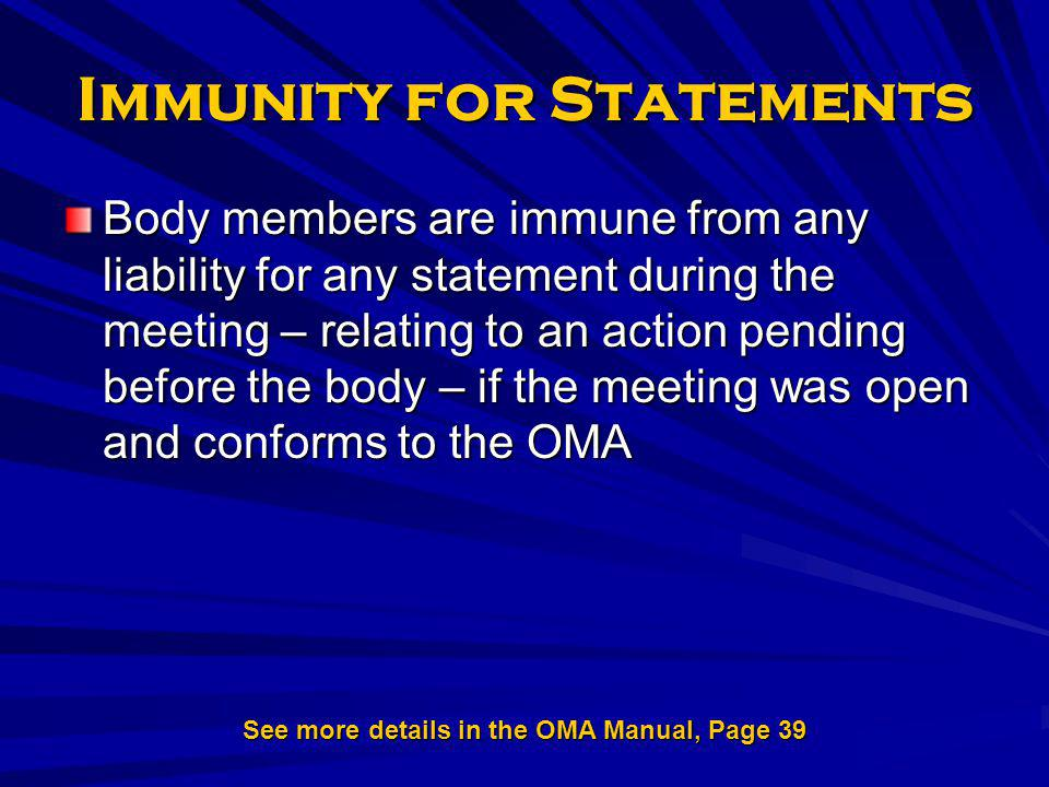 Immunity for Statements