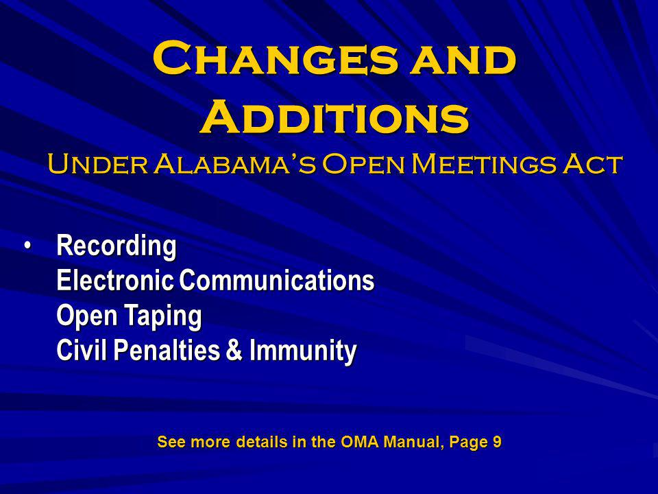 Changes and Additions Under Alabama's Open Meetings Act