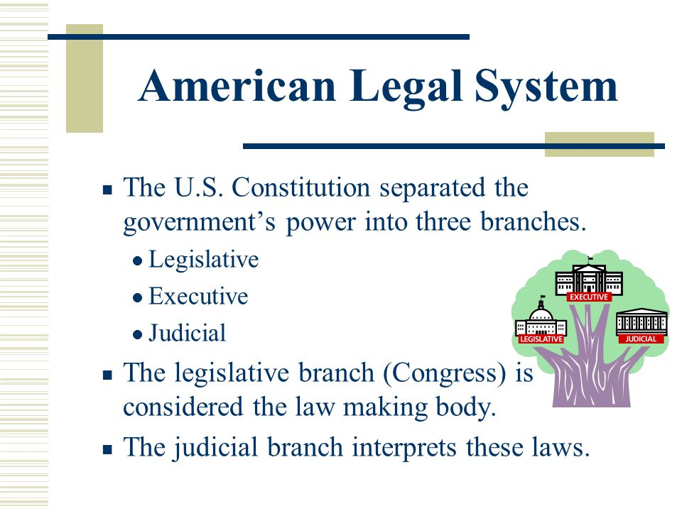 American Legal System The U.S. Constitution separated the government's power into three branches. Legislative.
