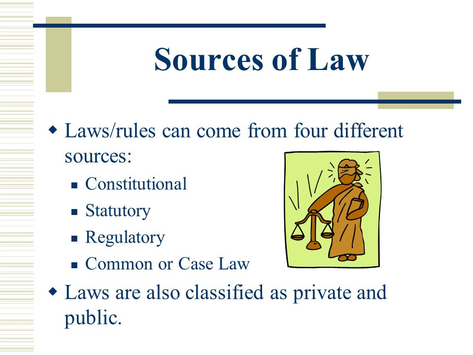 Sources of Law Laws/rules can come from four different sources: