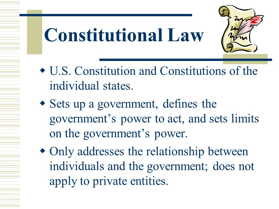 Constitutional Law U.S. Constitution and Constitutions of the individual states.