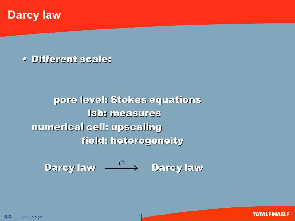 Darcy law Different scale: pore level: Stokes equations lab: measures