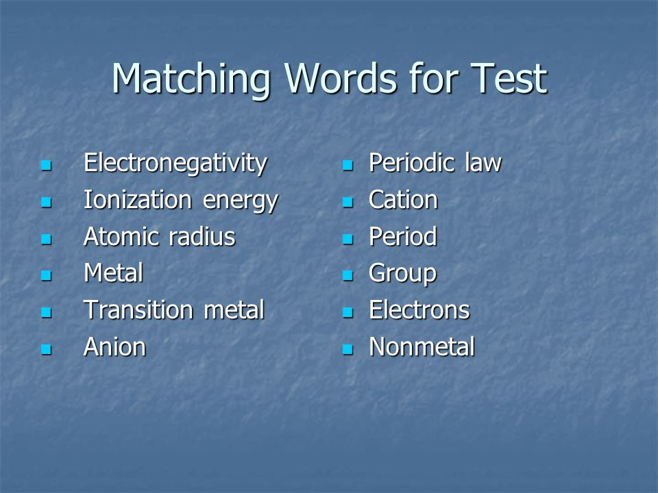 Matching Words for Test