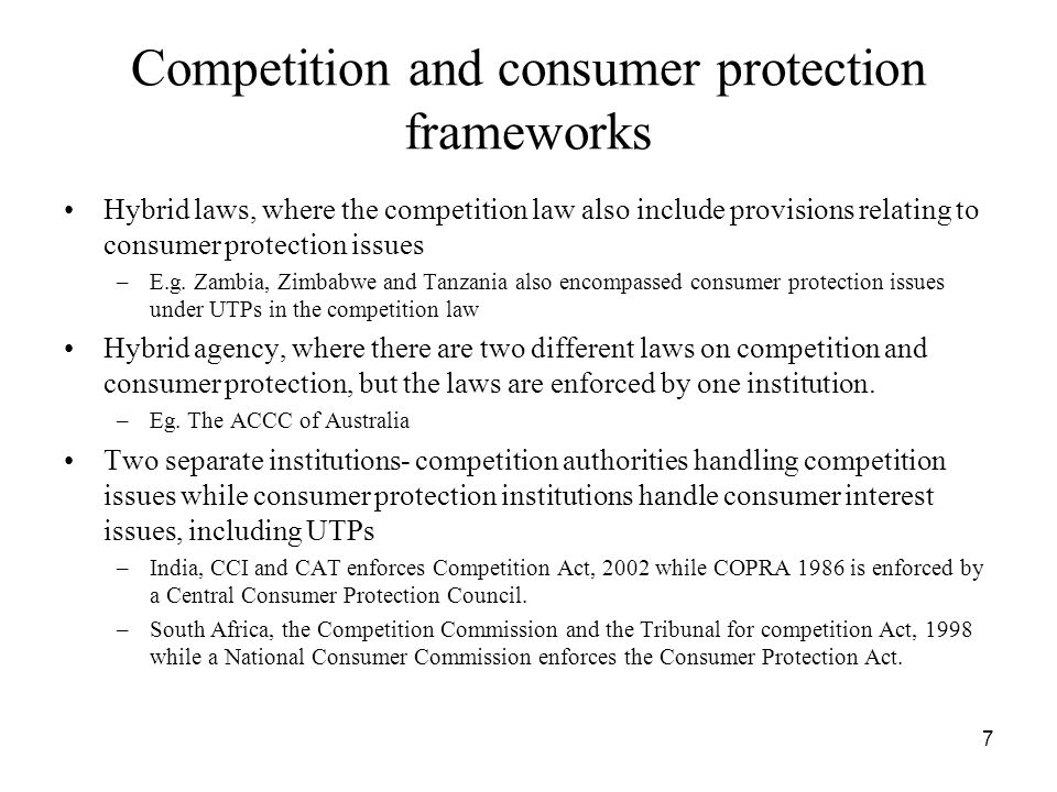 Competition and consumer protection frameworks