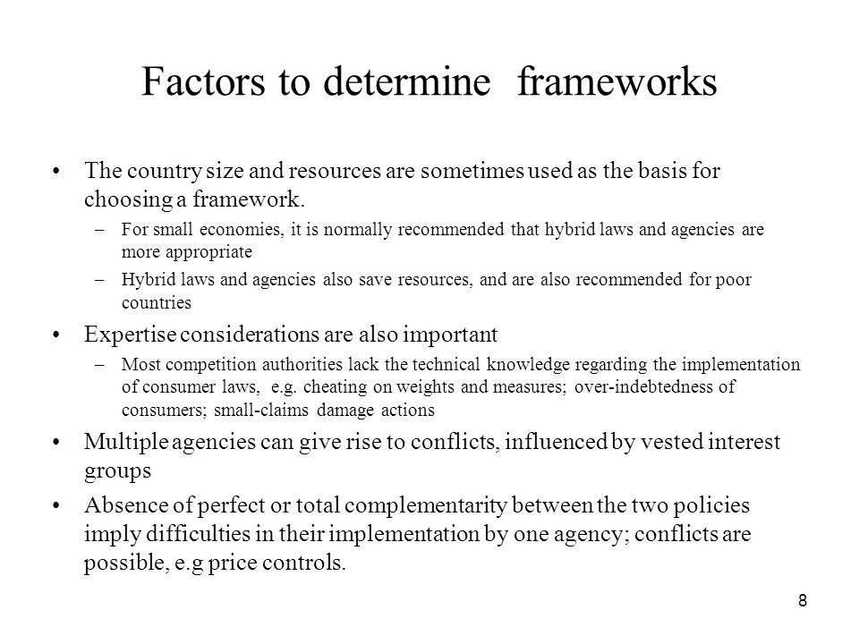 Factors to determine frameworks