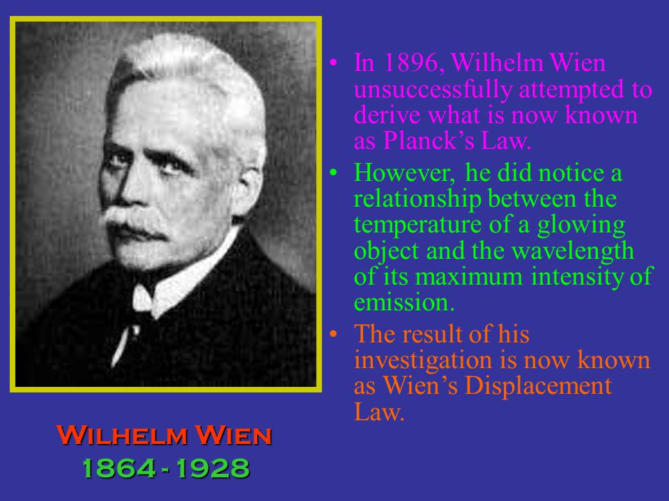 In 1896, Wilhelm Wien unsuccessfully attempted to derive what is now known as Planck's Law.
