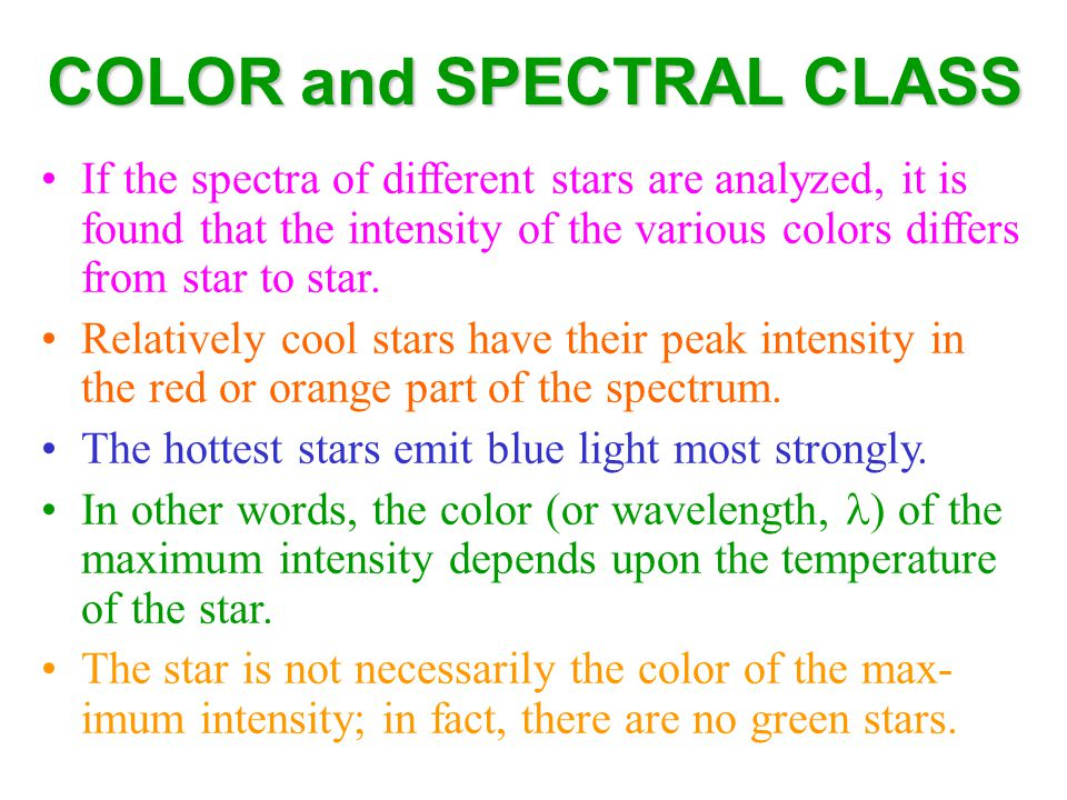 COLOR and SPECTRAL CLASS