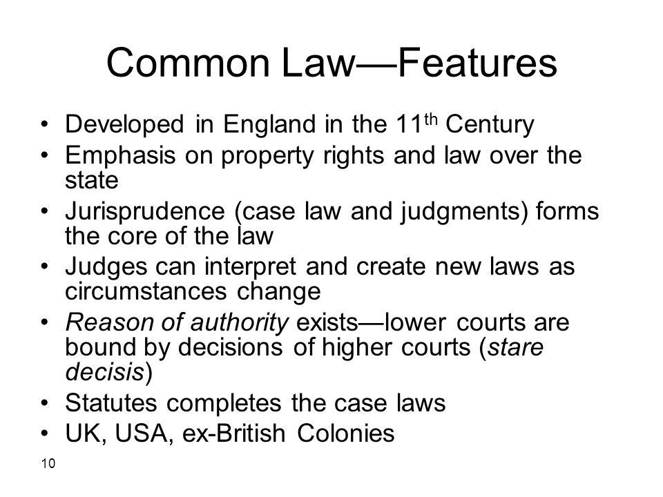 Common Law—Features Developed in England in the 11th Century