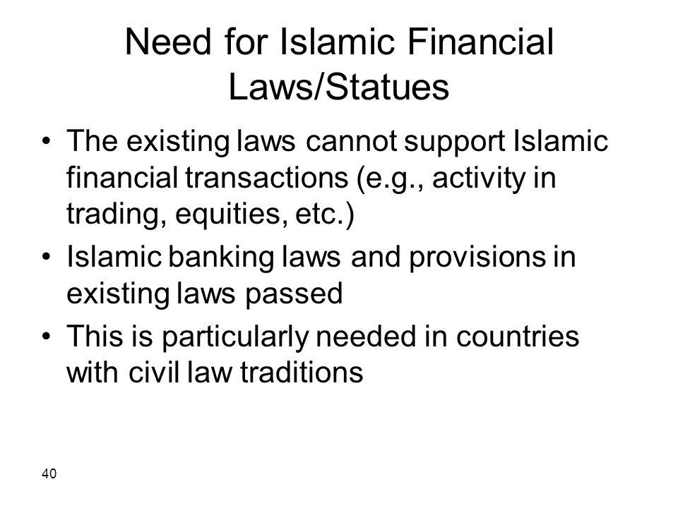 Need for Islamic Financial Laws/Statues