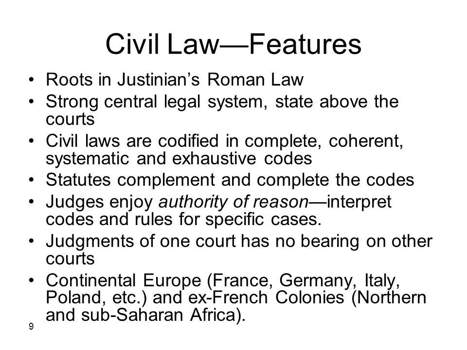 Civil Law—Features Roots in Justinian's Roman Law