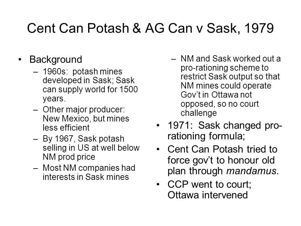 Cent Can Potash & AG Can v Sask, 1979