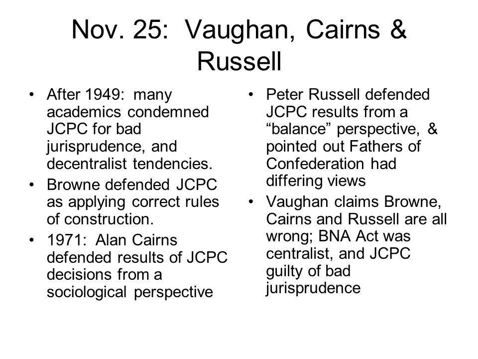 Nov. 25: Vaughan, Cairns & Russell