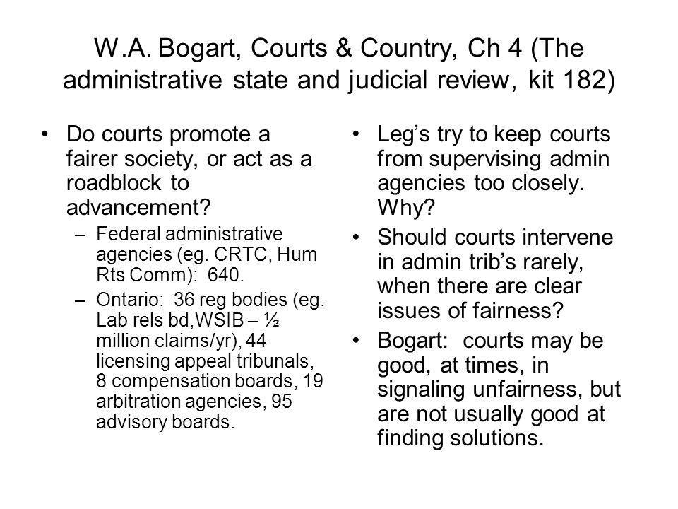 W.A. Bogart, Courts & Country, Ch 4 (The administrative state and judicial review, kit 182)