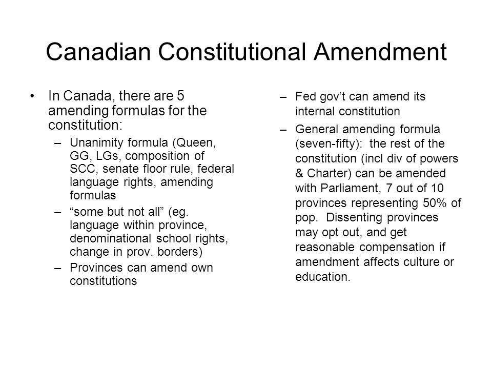 Canadian Constitutional Amendment