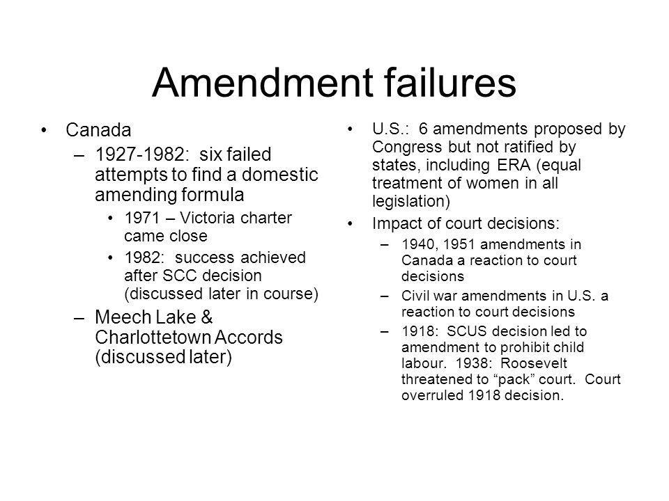 Amendment failures Canada