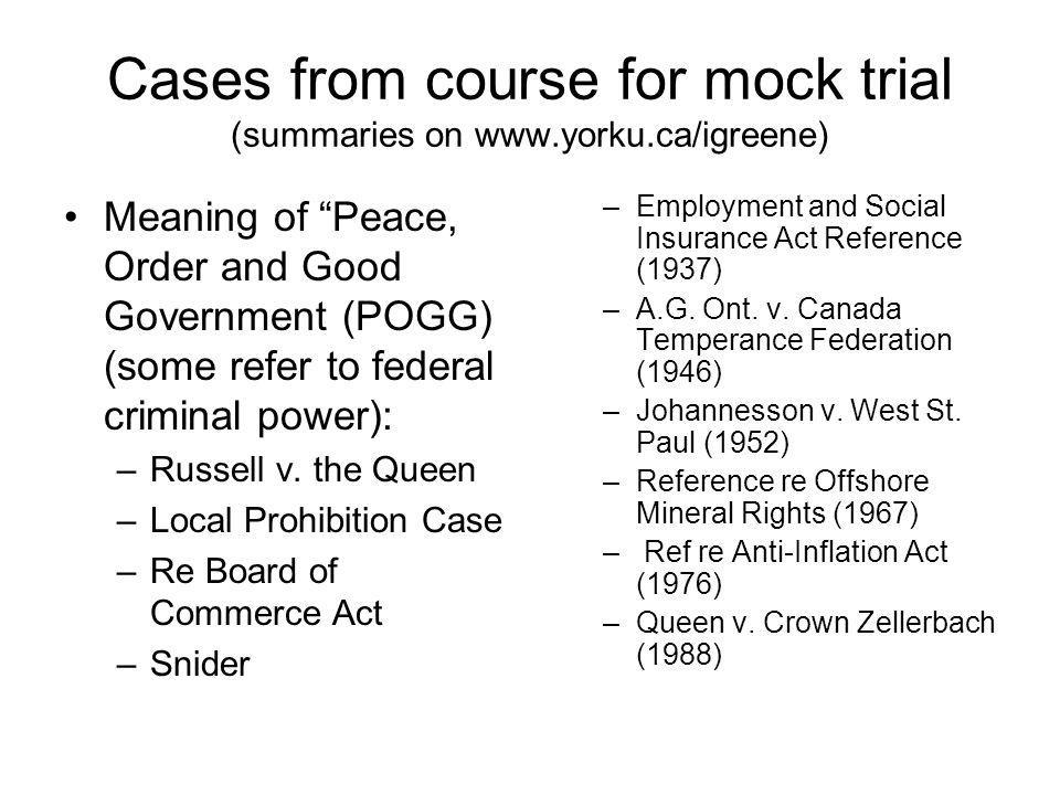 Cases from course for mock trial (summaries on www.yorku.ca/igreene)