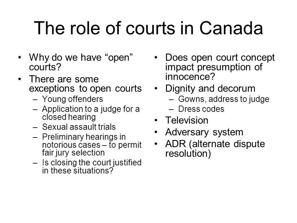 The role of courts in Canada