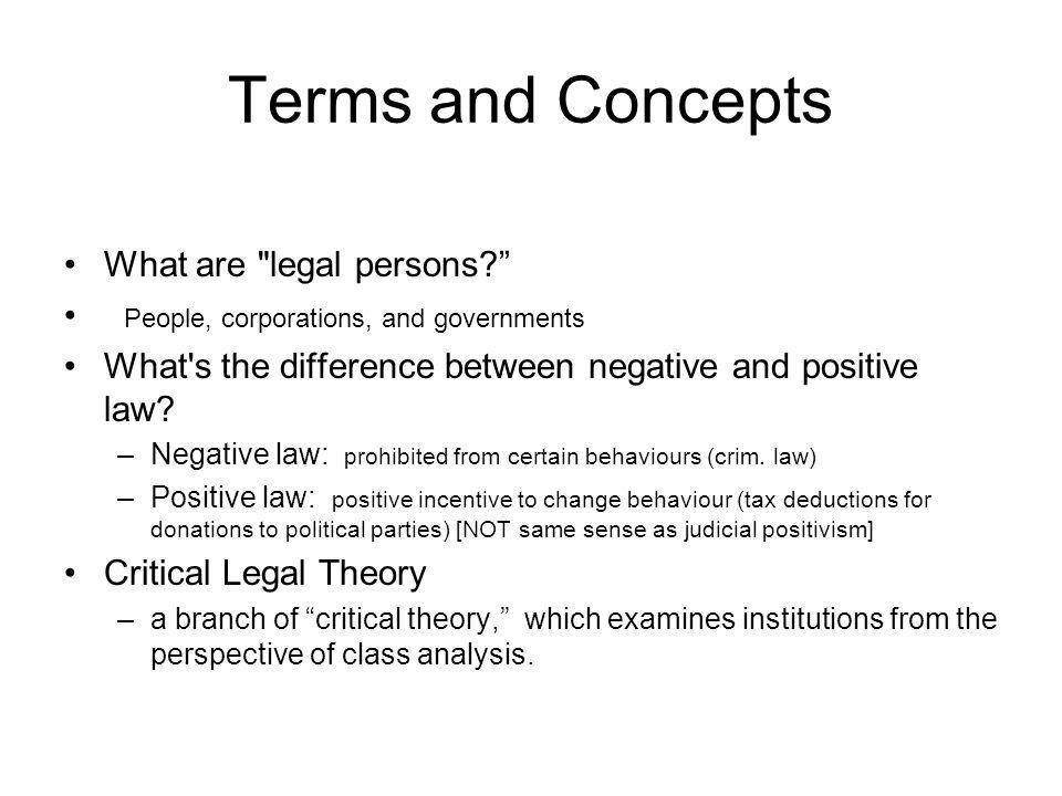 Terms and Concepts What are legal persons