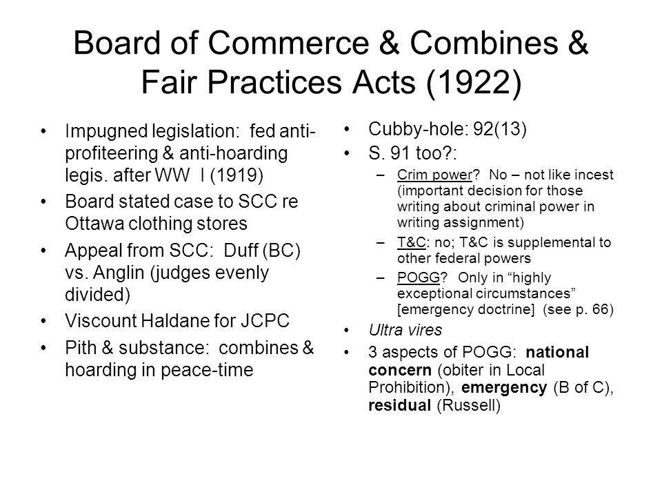 Board of Commerce & Combines & Fair Practices Acts (1922)