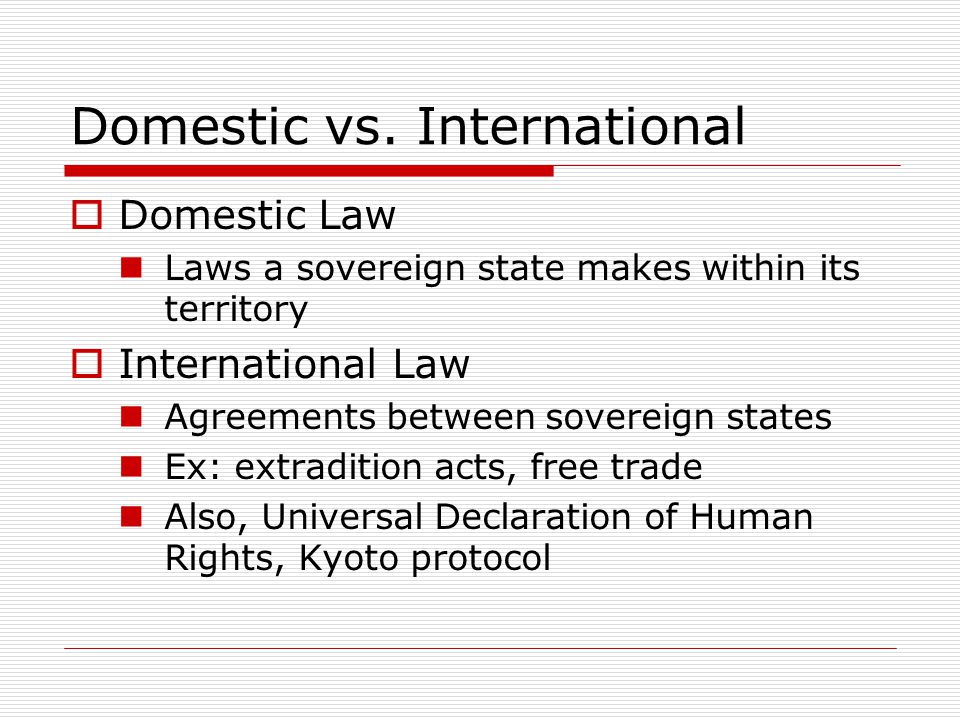 Domestic vs. International
