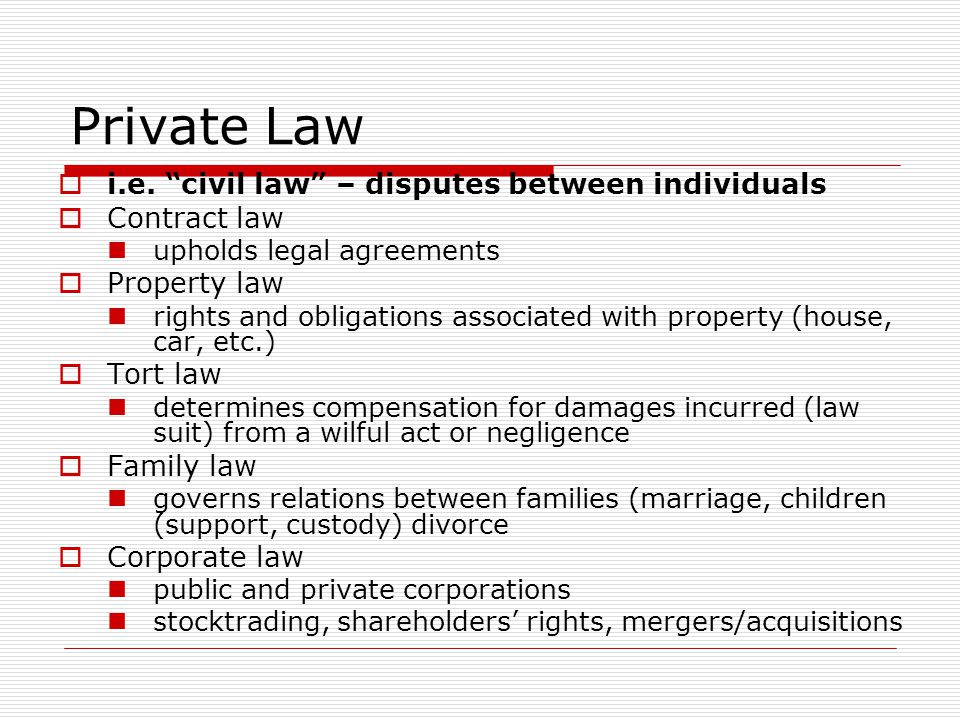 Private Law i.e. civil law – disputes between individuals