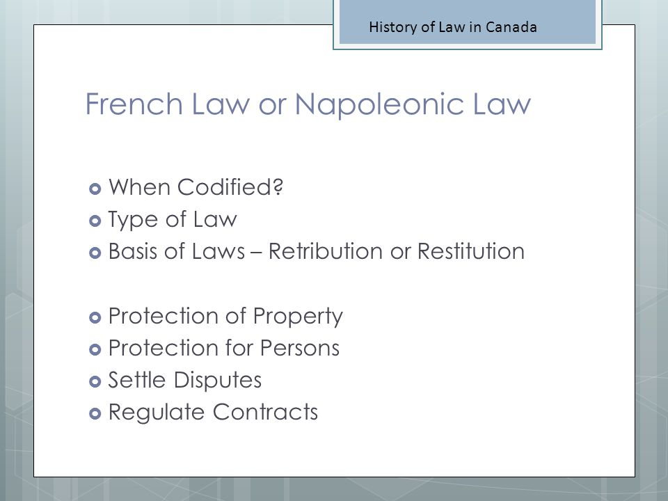 French Law or Napoleonic Law