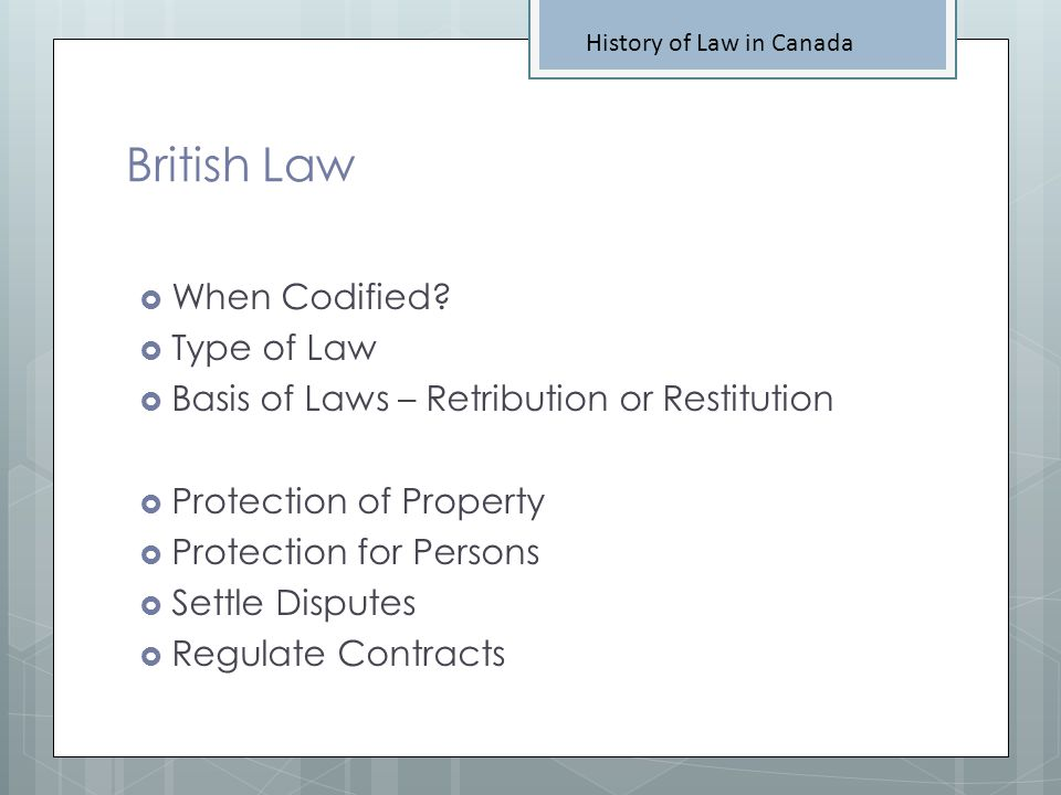 British Law When Codified Type of Law