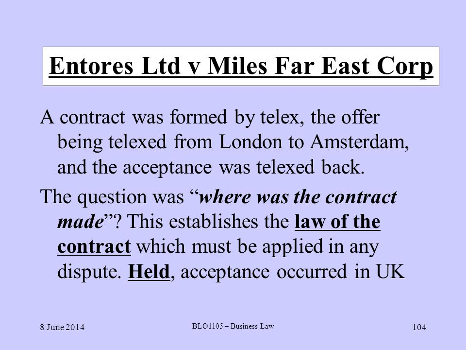 Entores Ltd v Miles Far East Corp