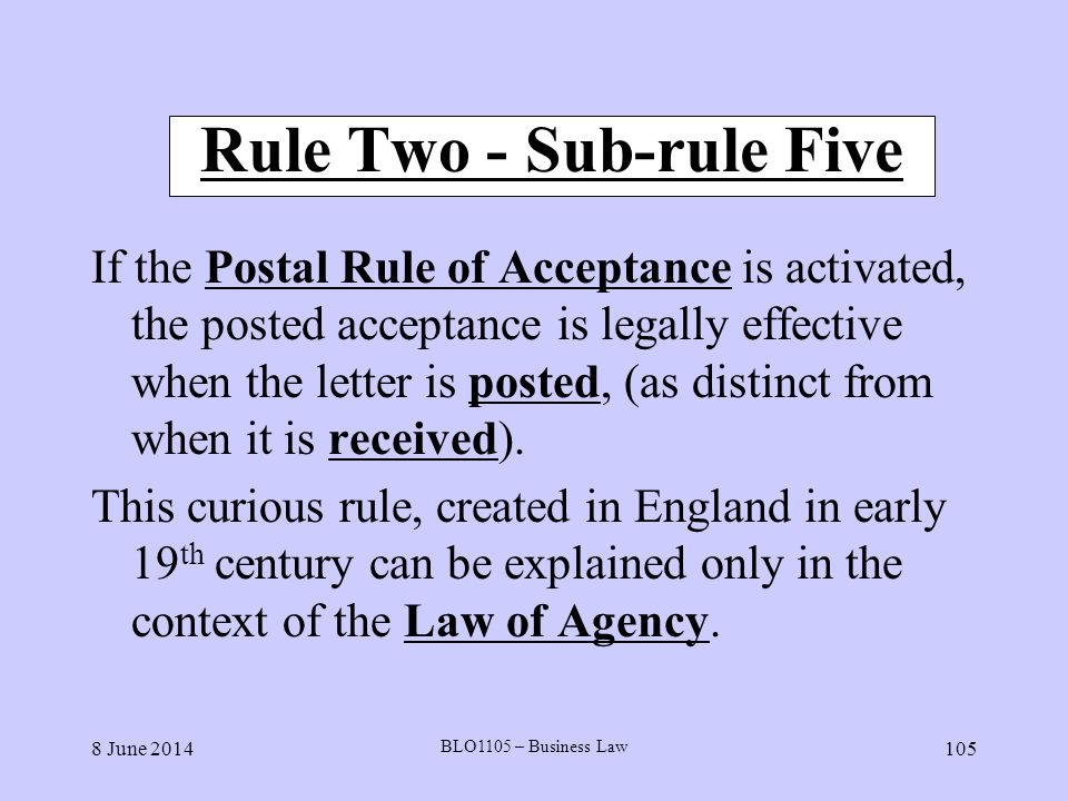 Rule Two - Sub-rule Five