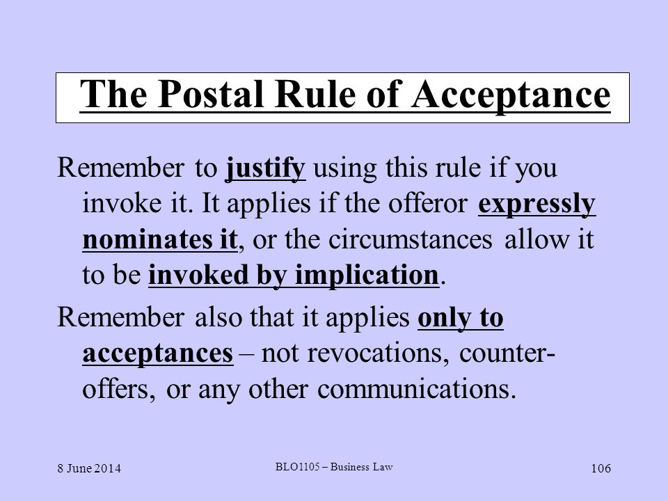 The Postal Rule of Acceptance