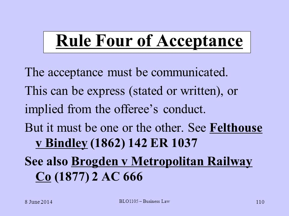 Rule Four of Acceptance