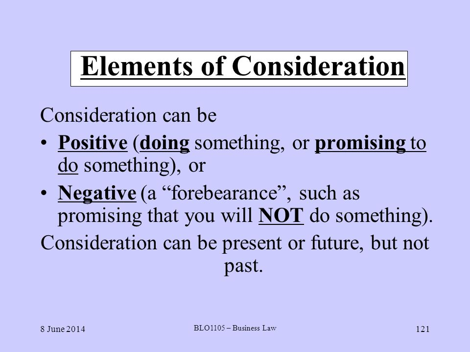 Elements of Consideration