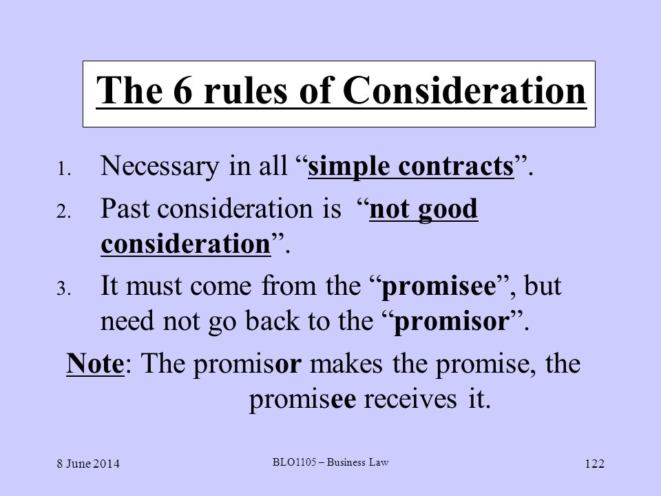 The 6 rules of Consideration