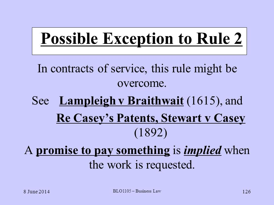 Possible Exception to Rule 2