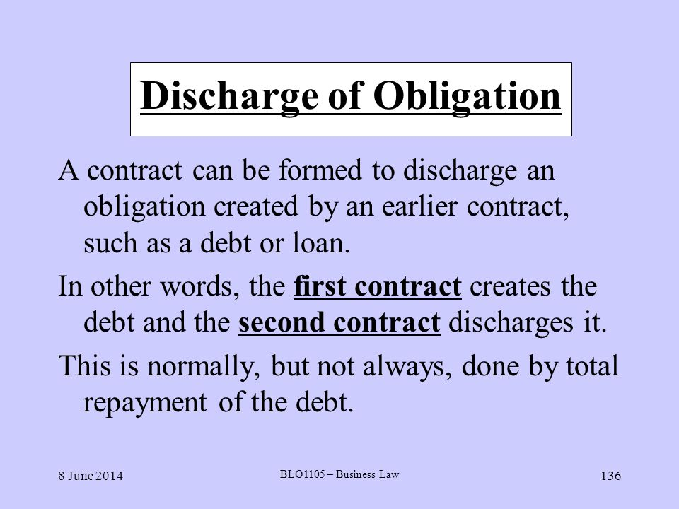 Discharge of Obligation
