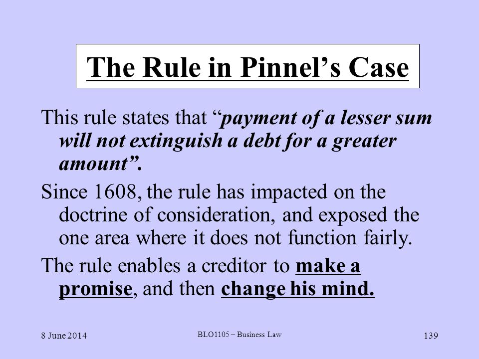 The Rule in Pinnel's Case