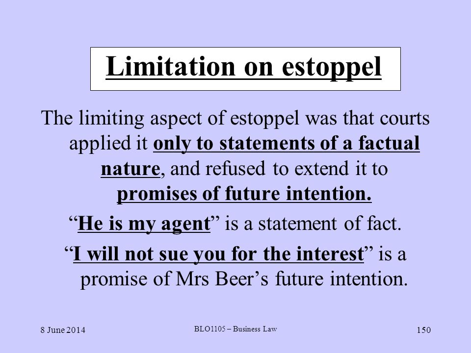 Limitation on estoppel