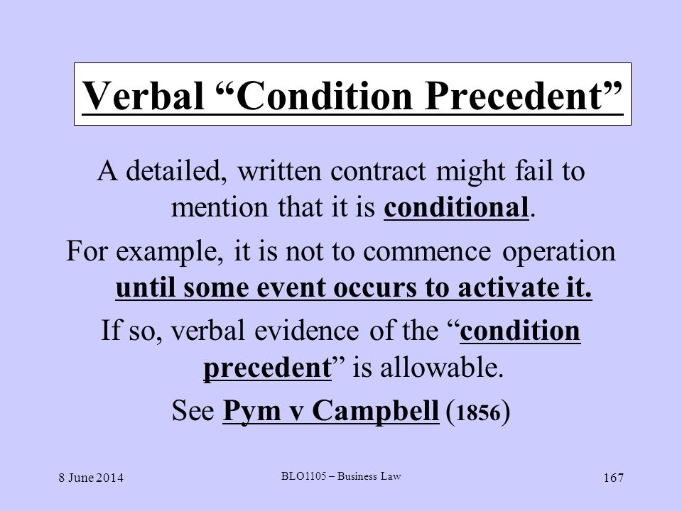 Verbal Condition Precedent