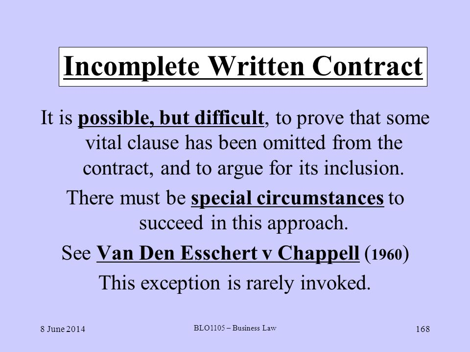 Incomplete Written Contract
